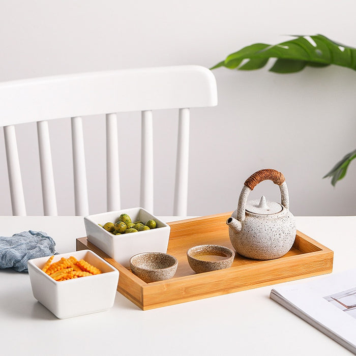 Japanese Creative Rectangle Ceramic Bamboo Tray - Ocloq Shop