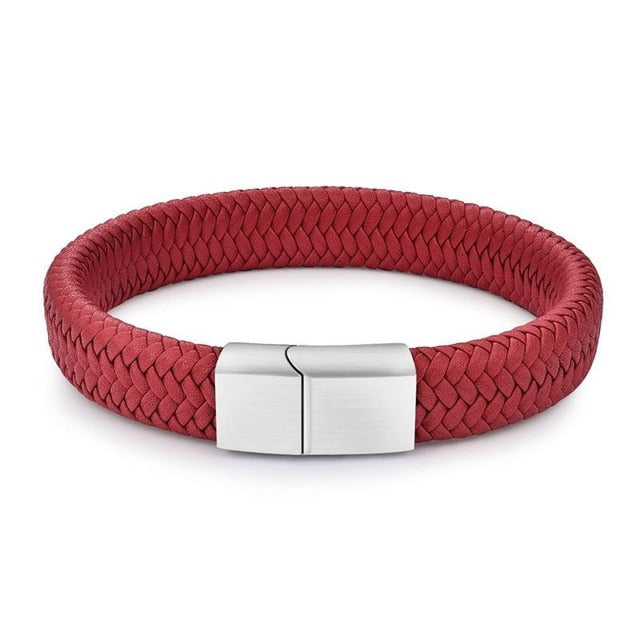 Chic Braided Men Bracelet White Leather Bracelet Titanium - Ocloq Shop