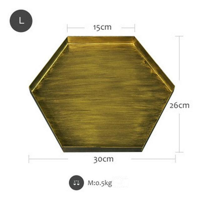 Vintage Gold Hexagon Storage Tray - Ocloq Shop