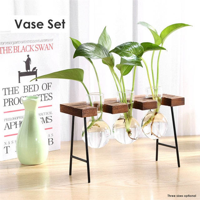 Glass and Wood Vase Planter Terrarium Table Desktop - Ocloq Shop