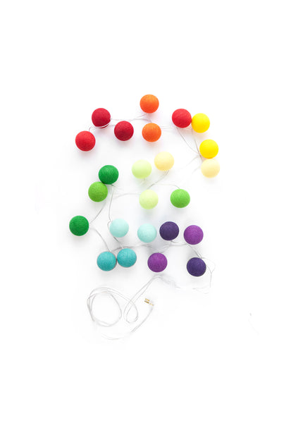 rainbow cotton ball string lights