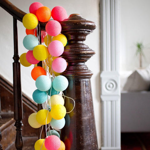 Cotton ball light string set.  Colorful for birthday's, photographs, bloggers, home decor, and room design.