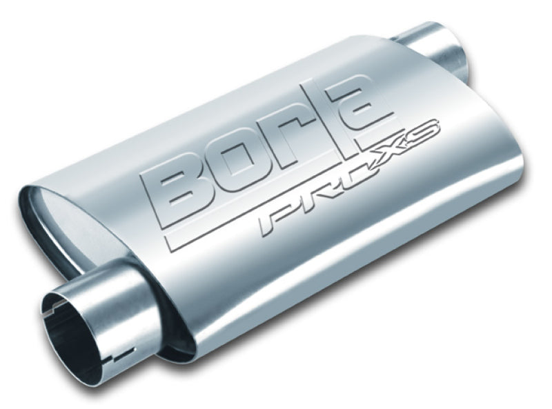 Borla Universal Pro-XS Oval 2in Inlet/Outlet Offset/Offset Notched Muffler