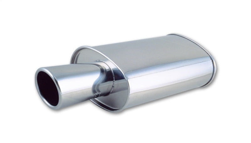 Vibrant StreetPower Oval Muffler with 4in Round Tip Angle Cut Rolled Edge - 2.5in inlet I.D.