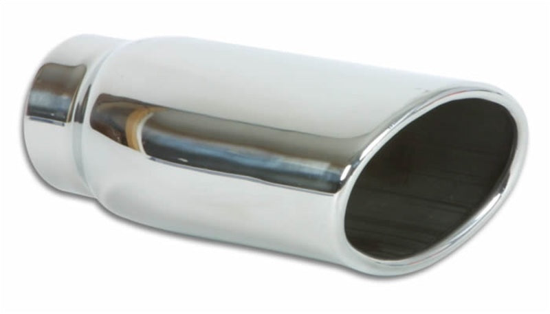 Vibrant 4.5in x 3in Oval SS Exhaust Tip (Single Wall Angle Cut Rolled Edge)