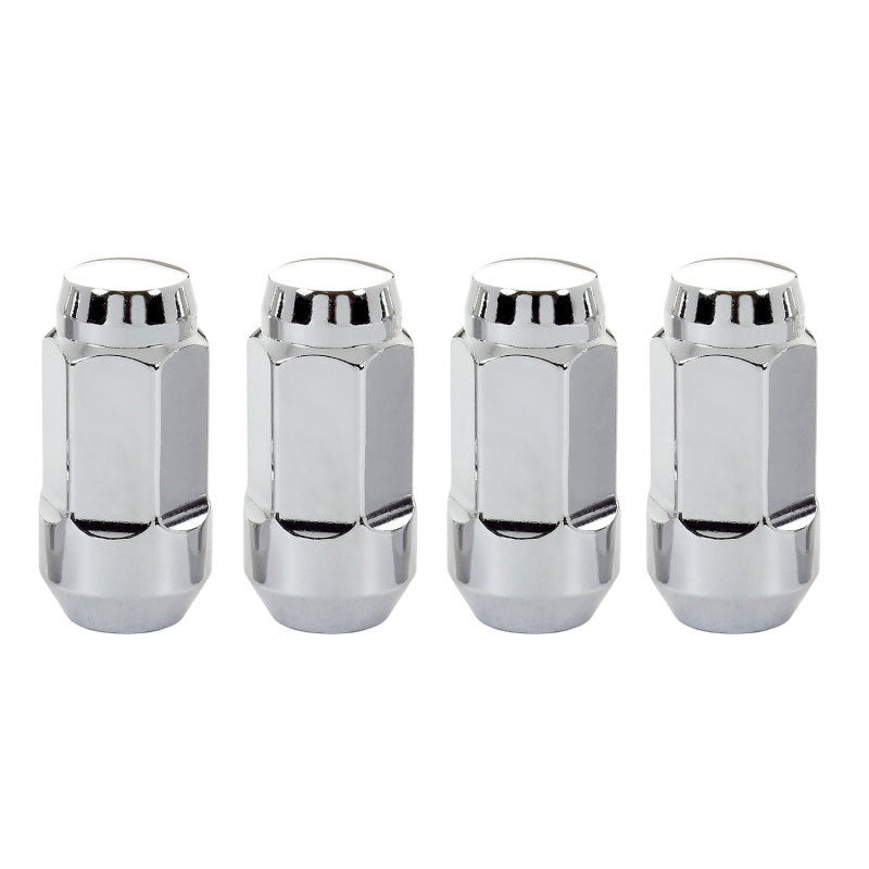 McGard Hex Lug Nut (Cone Seat Bulge Style) M14X1.5 / 13/16 Hex / 1.945in. Length (4-Pack) - Chrome
