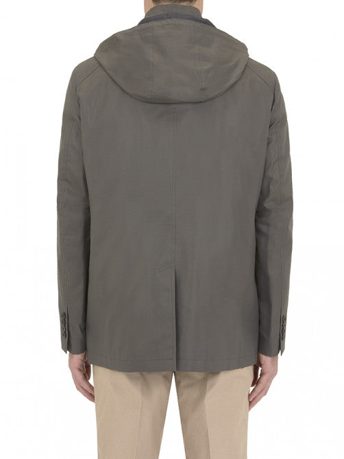 TAUPE SHORT MAC WITH HOOD