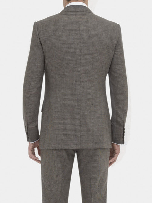FULL CANVAS CHOCOLATE TEXTURED VIRGIN WOOL SUIT