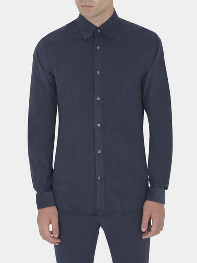 NAVY NEEDLECORD HIDDEN BUTTON-DOWN CASUAL SHIRT     £