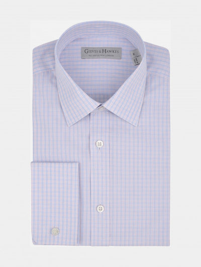 SKY BLUE TONAL CHECK TAILORED FIT SHIRT