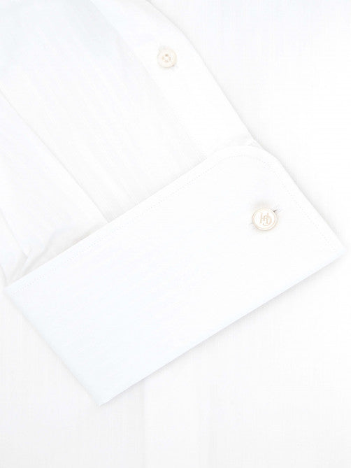 WHITE SELF-STRIPE COTTON SHIRT