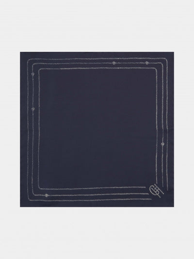ROPE STRIPE BORDER SILK POCKET SQUARE