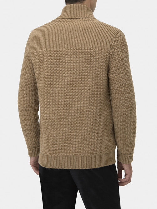 CAMEL WOOL AND CASHMERE SHAWL COLLAR CARDIGAN