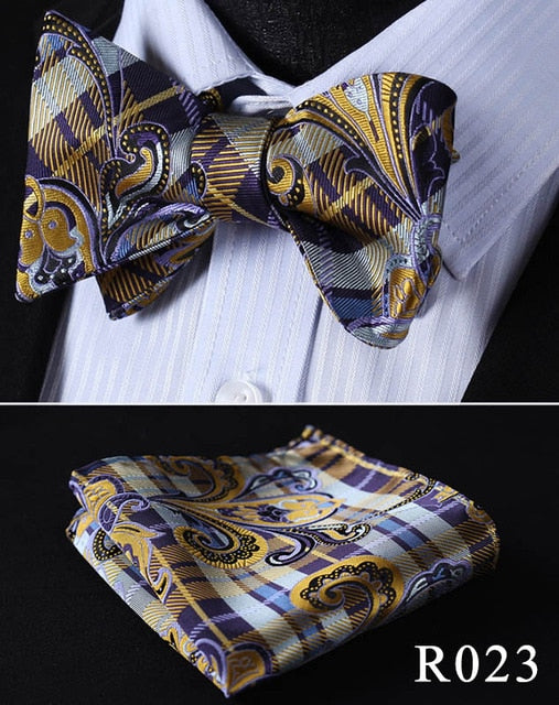 Floral Paisley 100%Silk Woven Men Butterfly Self Bow Tie