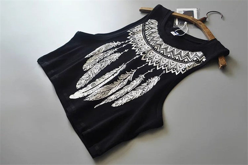Aztec Feather Crop Top