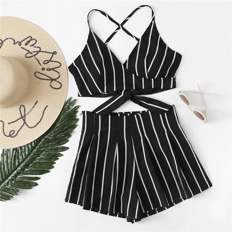 Clover Black Striped Two Piece Set