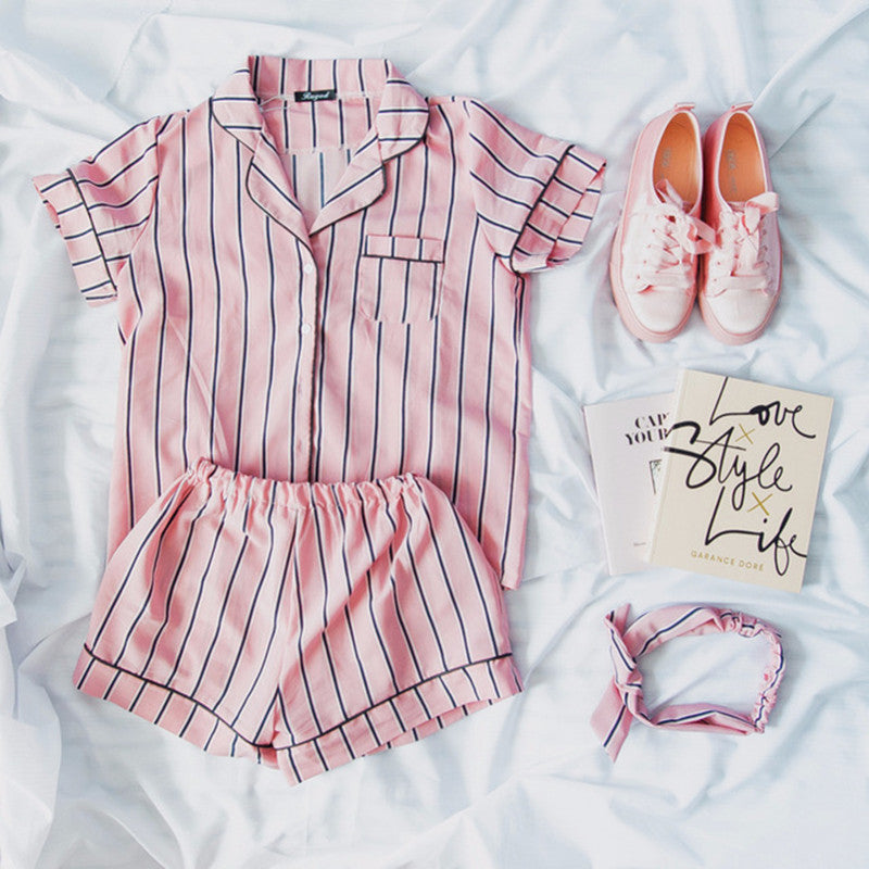 Three Piece Striped Pajama Set