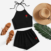 Rose Embroidered Set