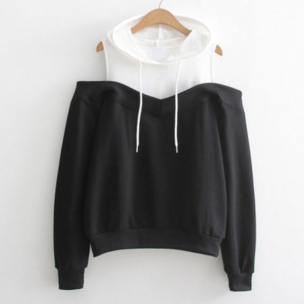 Reema Cold Shoulder Hooded Sweatshirt
