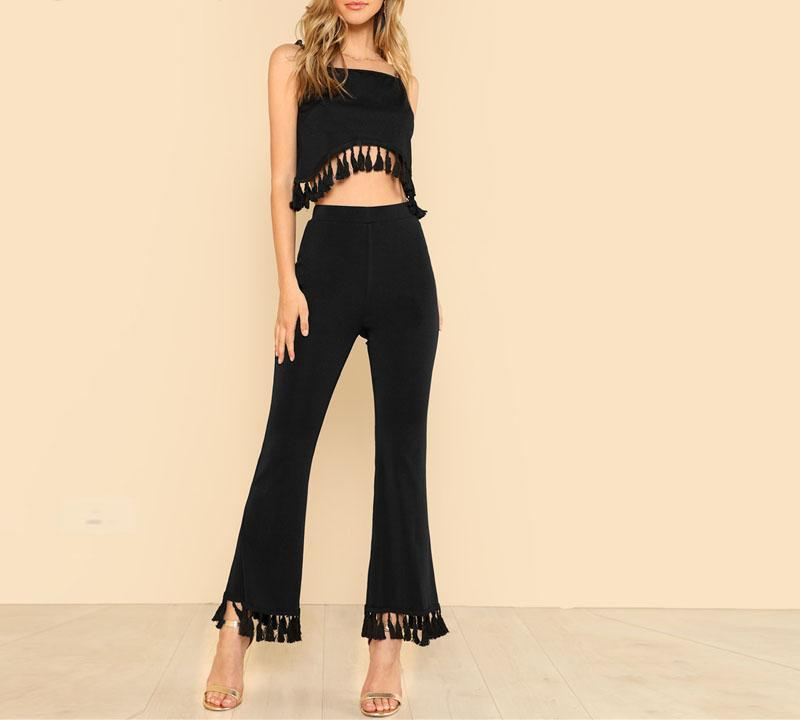 Tassel Crop and Flare Pant Set