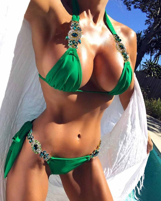 Savanna Emerald Embellished Bikini