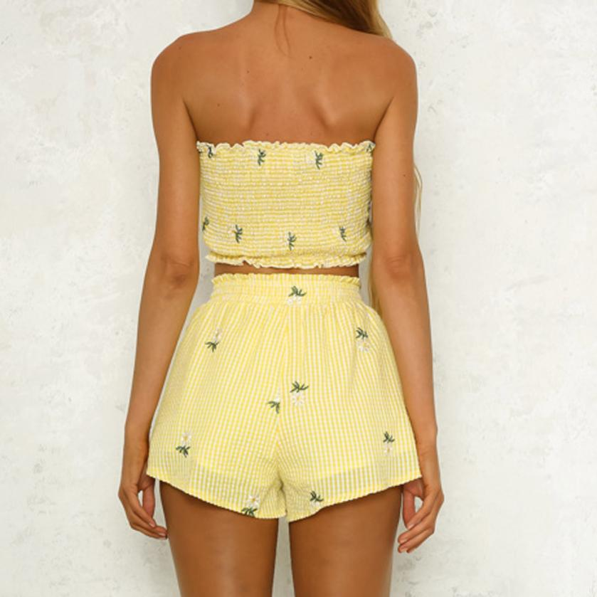 Sunday Funday Yellow Strapless Two Piece Set