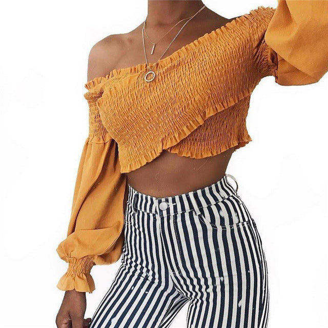 Mazie Off Shoulder Cross Crop Top