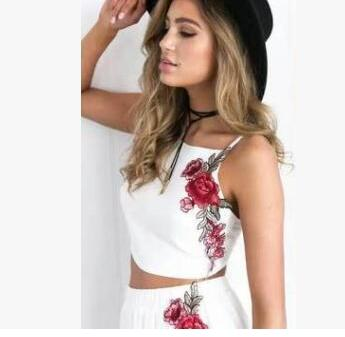 Rose Embroidery Two Piece Set