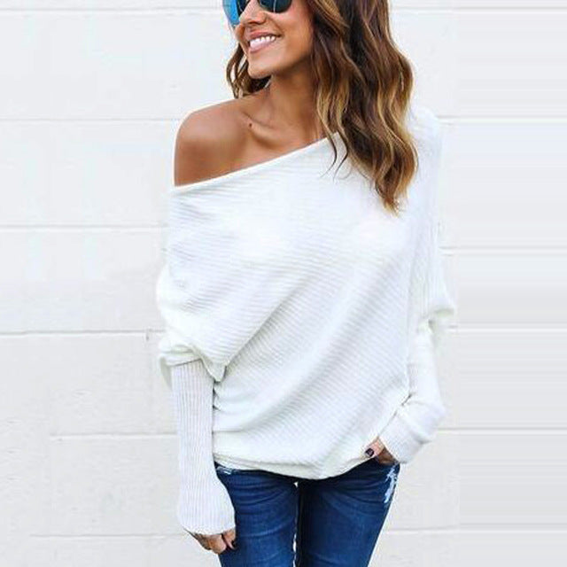 Off Shoulder Slouchy Sweater