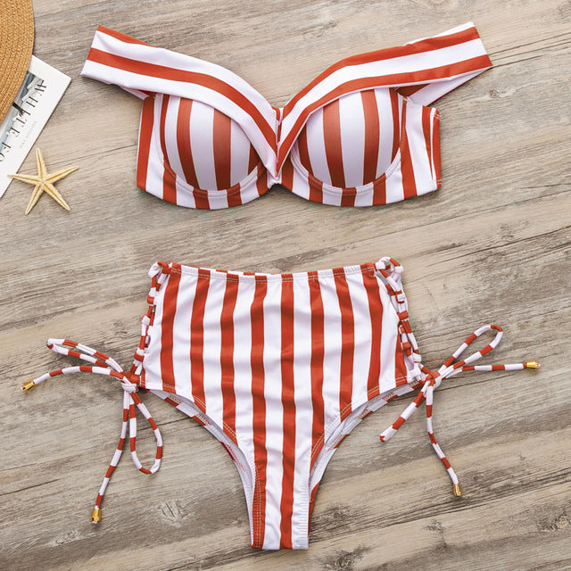Striped Off Shoulder Bikini