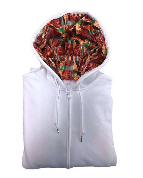 Thick Zip-up Kente Satin Lined Hoodie - White