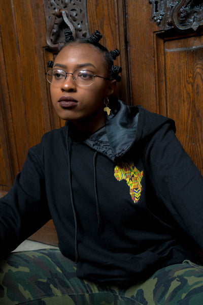 Black Satin Lined Kente Africa Hoodie - KINApparel