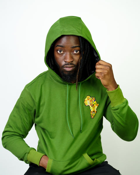 Green Motherland Satin Lined Hoodie  - Thin