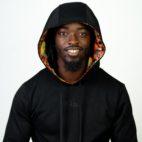 Kente Satin Lined Hoodie - Black  - Thin