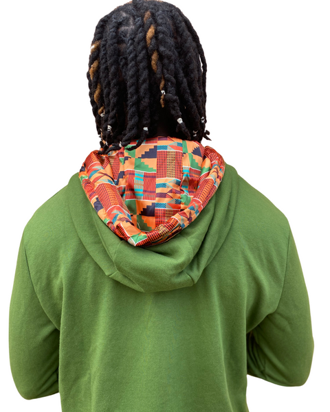 Kente Satin Lined Hoodie - Green  - Thin