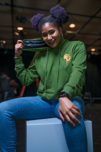 Green Silk Satin KenteAfrica Hoodie - KINApparel