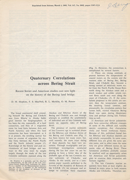 Quaternary Correlations Across Bering Strait (Offprint, Science, March 5, 1965), cover