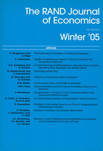 The Rand Journal of Economics (Vol 36, No. 4, Winter 2005), cover