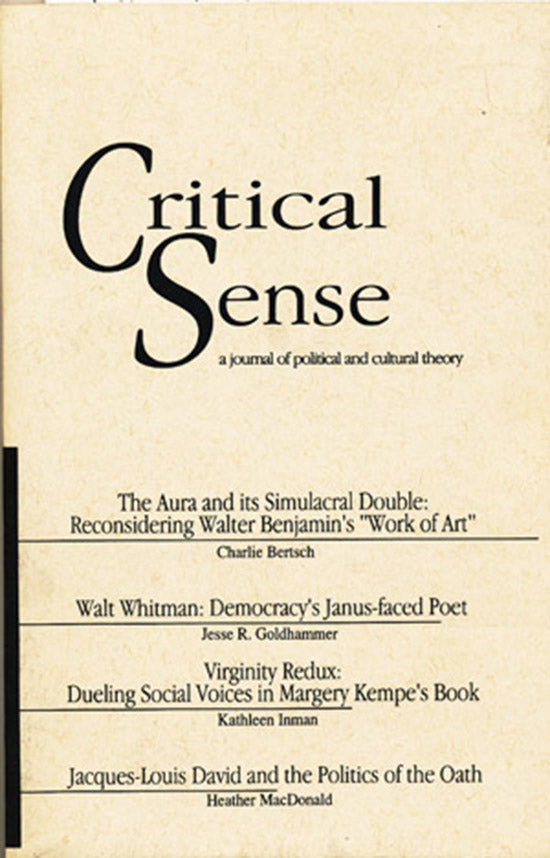 Critical Sense: A Journal of Political and Cultural Theory (Vol 4, Number 2, Fall 1996), book cover