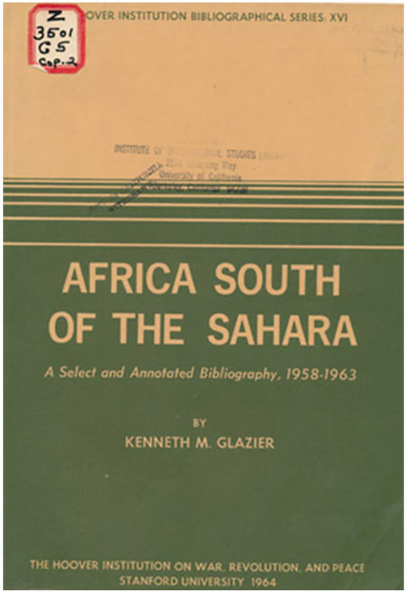 Africa South of the Sahara, book cover