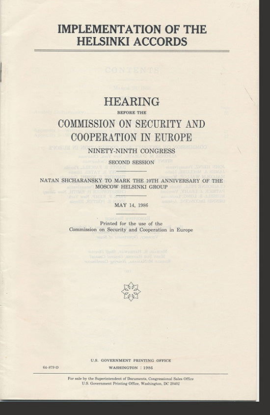 Cover. Implementation of the Helsinki Accords: Hearing Before the Commission on Security and Cooperation in Europe (Second Session).