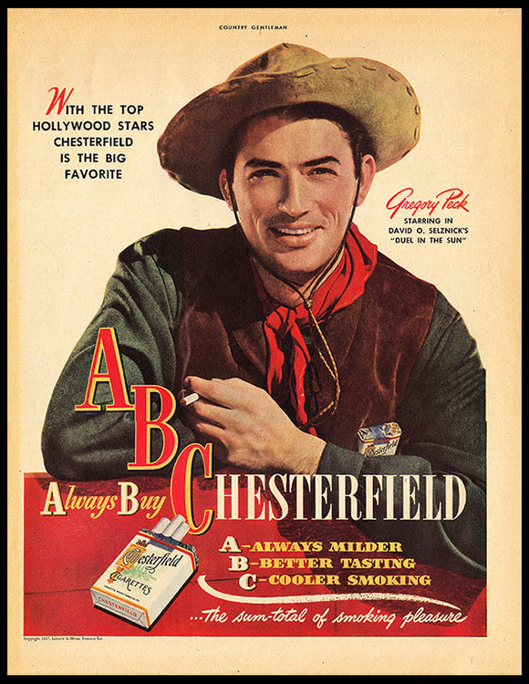 Gregory Peck for A. B. Chesterfield: Print Ad
