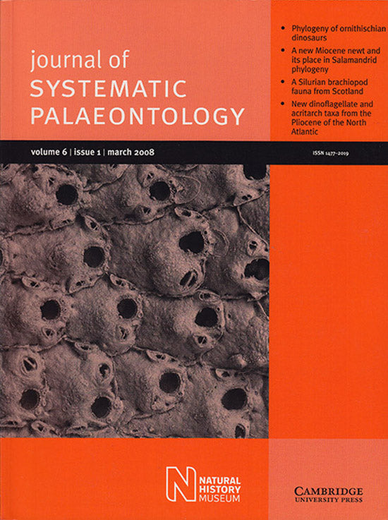 Journal of Systematic Palaeontology (Vol 6, Issue 1, March 2008), book cover