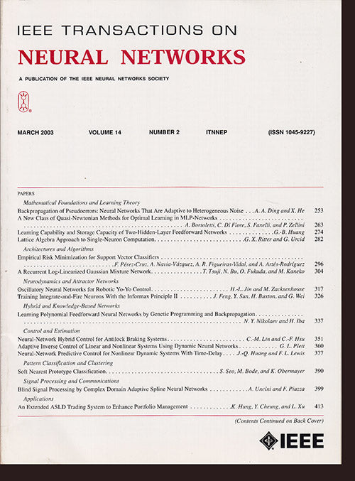 IEEE Transactions on Neural Networks:  (March 2003, Vol 14, No. 2), book cover