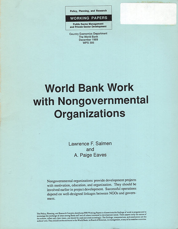World Bank Work with Nongovernmental Organizations, book cover