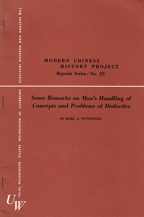Some Remarks on Mao's Handling of Concepts and Problems of Dialectics, book cover