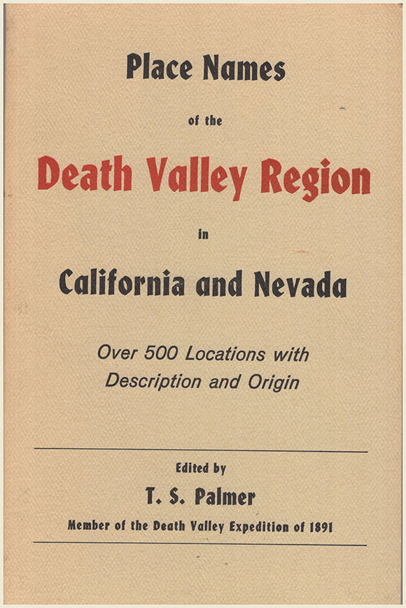 Place Names of the Death Valley Region in California and Nevada