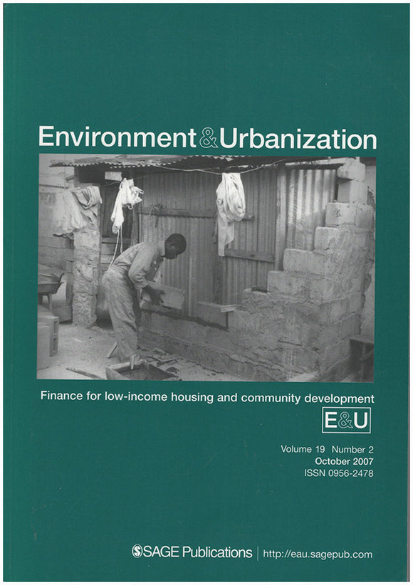 Book Cover. Environment and Urbanization: Finance for Low-income Housing and Community Development (October 2007, Volume 19, Number 2)