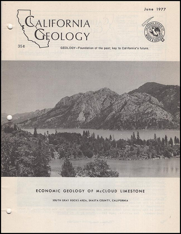 Cover: California Geology: Economic Geology of McCloud Limestone… (June 1977).