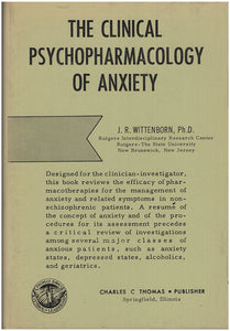 The Clinical Psychopharmacology of Anxiety. Book Cover.